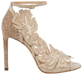 Jimmy Choo Lucele Floral Lace Leather Sandals