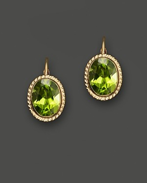 Bloomingdale's 14K Yellow Gold Bezel Set Medium Drop Earrings with Peridot - 100% Exclusive