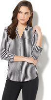 New York & Co. 7th Avenue - 3/4-Sleeve Knit Shirt - Black & White Stripe
