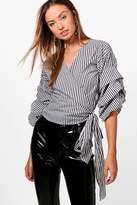 boohoo Erin Stripe Ruffle Sleeve Wrap Shirt