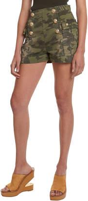 Balmain High-Rise Camo Cotton Shorts