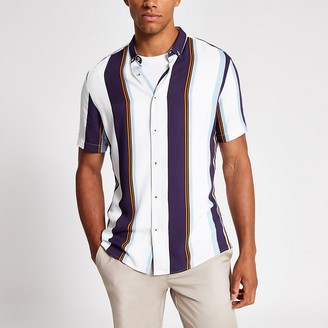 River Island White stripe slim fit short sleeve shirt