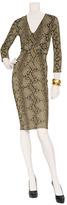 Roberto Cavalli Aloe Vera Python Print Draped Dress