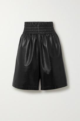 Bottega Veneta Shirred Leather Shorts - Black