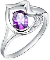 KnBoB Jewelry 18K White Gold Plated Women's Rings CZ Crystal Purple Flower Lovely Ring Size 9