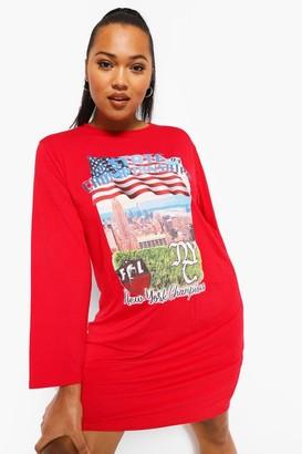 boohoo Plus Basket Ball Long Sleeve T-shirt Dress