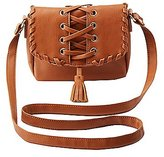 Charlotte Russe Lace-Up Tassel Crossbody Bag