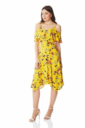 Roman Originals Women Hanky Hem Cold Shoulder Floral Print Dress - Ladies Tropical Casual Summer Holiday Vibrant Spring Bardot Fit and Flare Asymmetric Skater Sundress - Yellow - Size 18