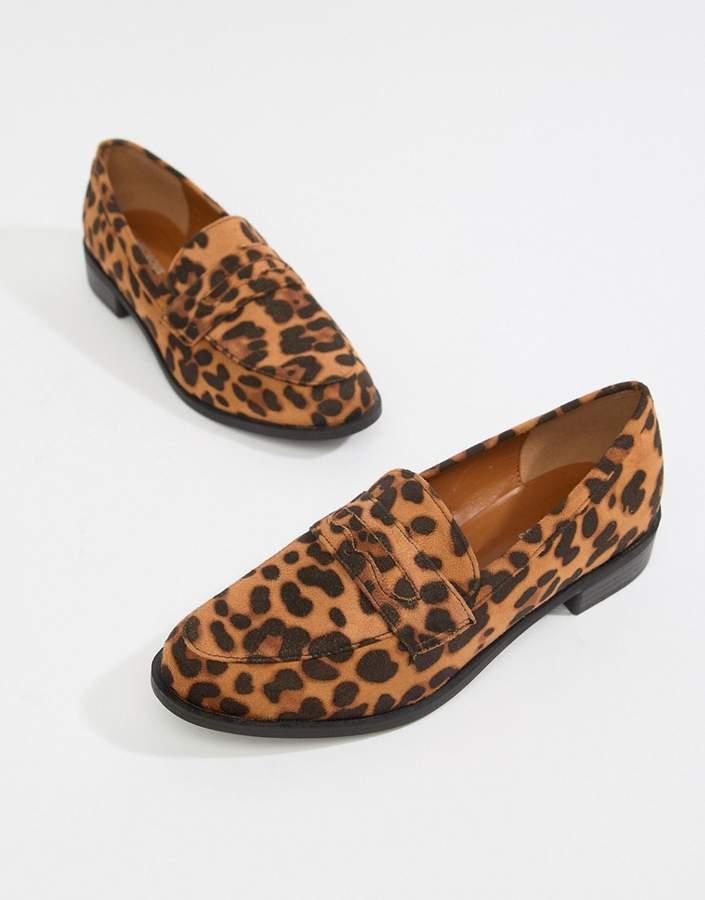 Glamorous leopard print flat loafers