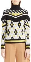 MSGM Women's Argyle Heart Turtleneck Sweater