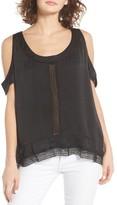 Hinge Women's Lace Trim Cold Shoulder Top