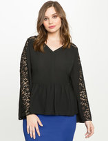 ELOQUII Plus Size Lace Trumpet Sleeve Peplum Top