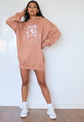 Missguided Camel Sport Oversized Graphic Brushed Back Sweater Dress