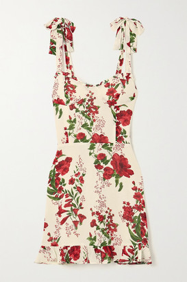 Reformation Christine Ruffled Floral-print Crepe Mini Dress - Red
