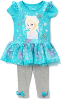Children's Apparel Network Blue Frozen Elsa Ruffle Top & Leggings - Toddler & Girls
