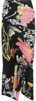 Preen by Thornton Bregazzi Lennox Ruched Floral-print Stretch-crepe Midi Skirt - Black