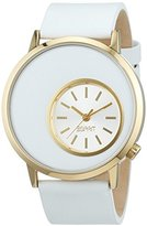 Esprit Women's Quartz Watch with Silver Dial Analogue Display and White Leather Strap TP10567
