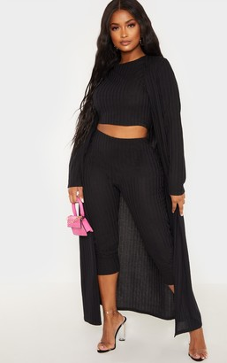 Silvergirl Shape Black Wide Rib Maxi Cardigan