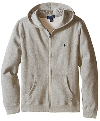 Polo Ralph Lauren Collection Fleece Full-Zip Hoodie (Big Kids) (Dark Sport Heather) Boy's Fleece