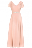 Quiz Peach Chiffon V Neck Maxi Dress