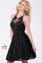 Jovani Beaded Embellishments Halter A-Line Dress JVN41426