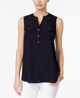 Charter Club Petite Split-Neck Utility Top, Only at Macy's