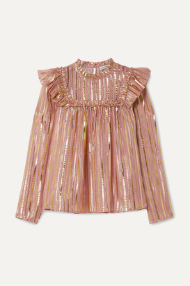Ulla Johnson Leopold Ruffled Striped Silk And Lurex-blend Chiffon Blouse - Antique rose