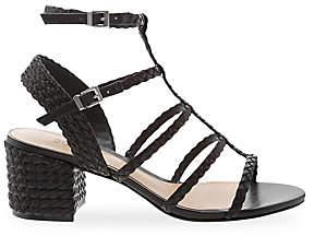 Schutz Women's Rosalia Woven Leather T-Strap Sandals