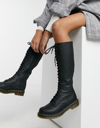 Dr. Martens 1B60 20-eye knee high boot with zip in black