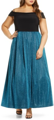 Morgan & Co. Shimmer Pleat Cold Shoulder Gown (Plus Size)
