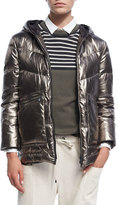 Brunello Cucinelli Metallic Quilted Leather Puffer Coat