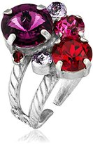"""Sorrelli Pink Ruby"""" Crystal Assorted Rounds Ring, Size 7-9"""