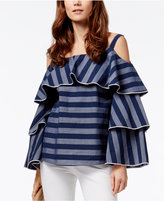 INC International Concepts Striped Ruffled Cold-Shoulder Top, Only at Macy's