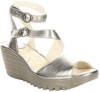 Fly London Women's Sandals 018 - Bronze Yisk Leather Wedge Sandal - Women