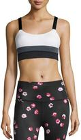 Beyond Yoga kate spade new york colorblock banded sports bra, cream/smoky quartz/black