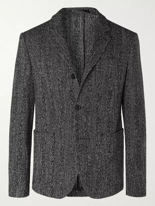 Mr P. Grey Unstructured Herringbone Melange Cotton And Wool-Blend Blazer