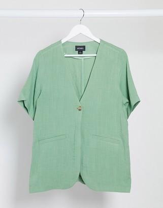 Monki Sammi collarless blazer in green