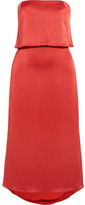 Halston Layered Satin Midi Dress