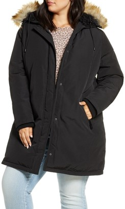 Sam Edelman Faux Fur Trim Short Parka (Plus Size)