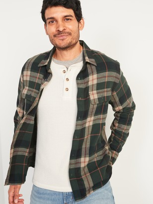 Old Navy Regular-Fit Built-In Flex Patterned Flannel Shirt for Men