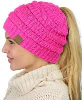 C&C C.C BeanieTail Soft Stretch Cable Knit Messy High Bun Ponytail Beanie Hat