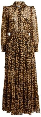 MISA Aydeniz Leopard Print Maxi Dress