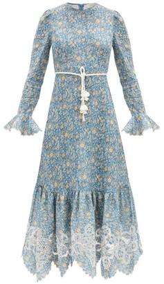 Zimmermann Carnaby Rope-belt Floral-print Linen Midi Dress - Blue Print