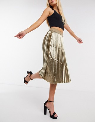 Outrageous Fortune pleated midi skirt in metallic