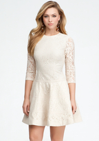 Bebe Lace 3/4 Sleeve Fit & Flare Dress