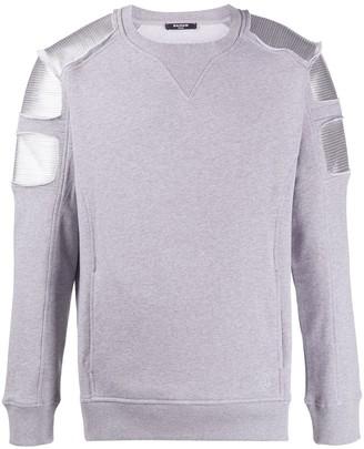 Balmain Quilted Panelled Sweatshirt