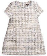 Imoga Natasha Short-Sleeve Tweed Shift Dress, Swan, Size 2-6
