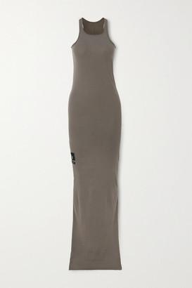 Rick Owens Appliqued Cotton-jersey Maxi Dress - Gray