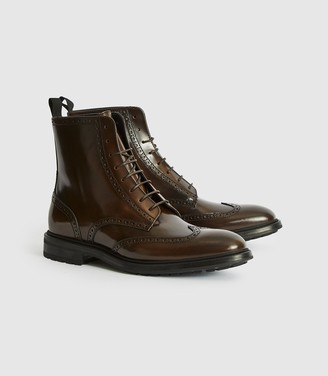 Reiss Stepney - Brogue Detail Boots in Brown