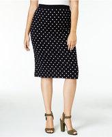 Rachel Roy Curvy Trendy Plus Size Polka-Dot Sweater Skirt, Only at Macy's
